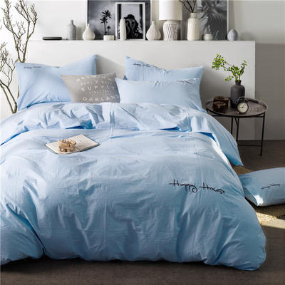 纯棉四件套水洗棉四件套床单床笠款全色套件 1.5m(5英尺)床 (浅兰)