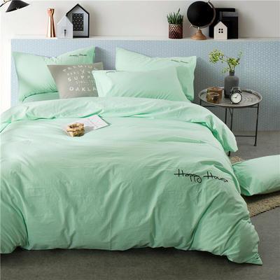 纯棉四件套水洗棉四件套床单床笠款全色套件 1.5m(5英尺)床 (浅绿)