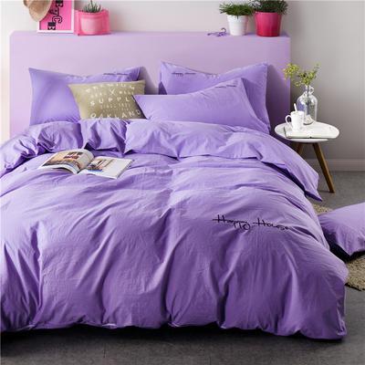 纯棉四件套水洗棉四件套床单床笠款全色套件 1.5m(5英尺)床 (雪青)