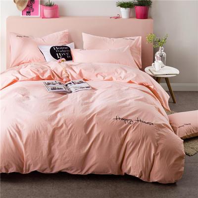 纯棉四件套水洗棉四件套床单床笠款全色套件 1.5m(5英尺)床 (玉色)