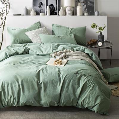 纯棉四件套水洗棉四件套床单床笠款全色套件 1.5m(5英尺)床 (中绿)