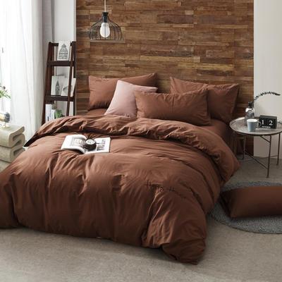 纯棉四件套水洗棉四件套床单床笠款全色套件 1.5m(5英尺)床 咖啡色
