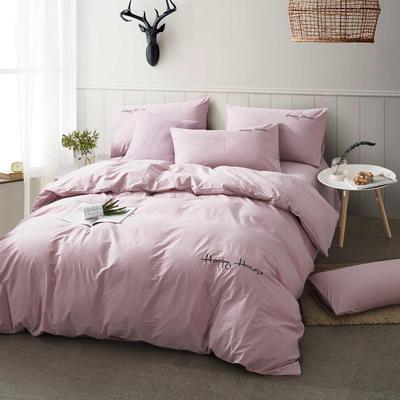纯棉四件套水洗棉四件套床单床笠款全色套件 1.5m(5英尺)床 浅粉