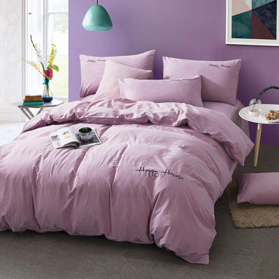 纯棉四件套水洗棉四件套床单床笠款全色套件 1.5m(5英尺)床 深豆沙