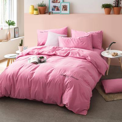 纯棉四件套水洗棉四件套床单床笠款全色套件 1.5m(5英尺)床 深粉