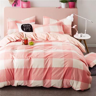 全棉四件套纯棉四件套水洗棉四件套床单床笠款 1.5m(5英尺)床 (粉白大格-玉色)