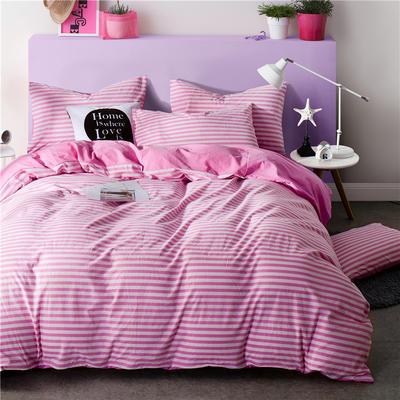 全棉四件套纯棉四件套水洗棉四件套床单床笠款 1.5m(5英尺)床 (红条-粉)