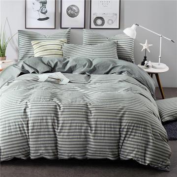 全棉四件套纯棉四件套水洗棉四件套床单床笠款 1.5m(5英尺)床 (灰条-银灰)
