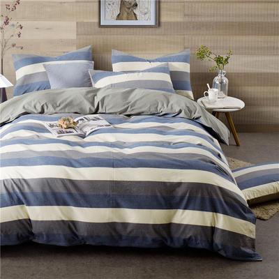 全棉四件套纯棉四件套水洗棉四件套床单床笠款 1.5m(5英尺)床 (兰灰宽条-银灰)