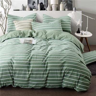 全棉四件套纯棉四件套水洗棉四件套床单床笠款 1.8m(6英尺)床 (绿宽白细条-中绿)