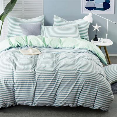 全棉四件套纯棉四件套水洗棉四件套床单床笠款 1.8m(6英尺)床 (绿条-浅绿))