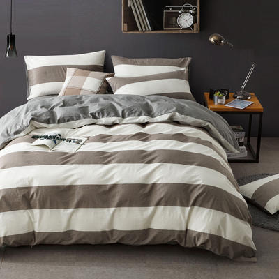 全棉四件套纯棉四件套水洗棉四件套床单床笠款 2.0m(6.6英尺)床 四季如春-银灰