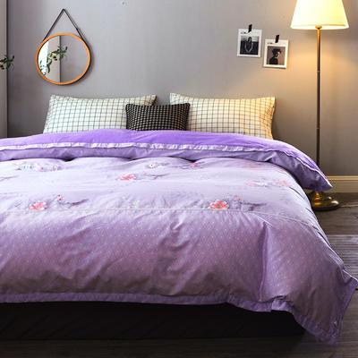 单双人被套 全棉保暖珊瑚绒被套水晶绒被套四件套法莱绒被套四件套 床单 四件套 150*200 粉调花香-紫