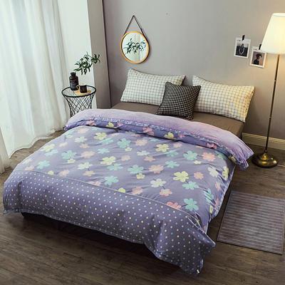 单双人被套 全棉保暖珊瑚绒被套水晶绒被套四件套法莱绒被套四件套 床单 四件套 150*200 幸福朵朵-紫