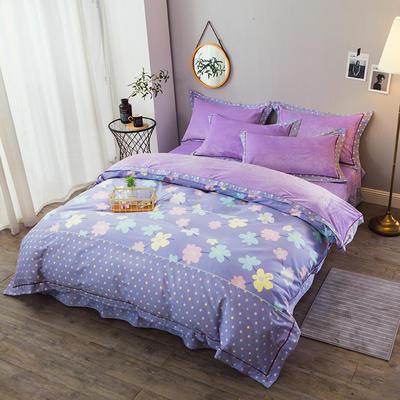 保暖海藻绒地件套法兰绒四件套水晶绒四件套法莱绒四件套被套床单四件套 标准被套200*230床单250*270 幸福朵朵-紫