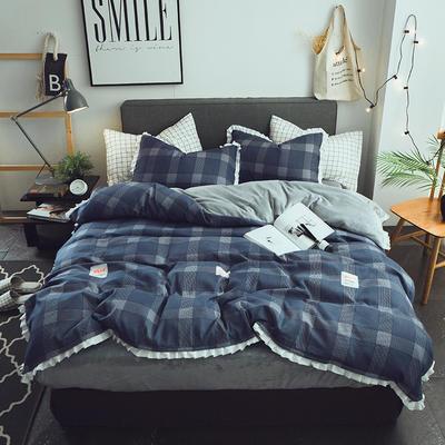 保暖法莱绒四件套法莱绒床笠四件套水晶绒四件套被套床单四件套 标准被套200*230床单230.250 贝琪