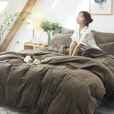 2018天鹅绒单品被套床单枕套床笠四件套任意组合 150*200床单160*230枕套*1 咖啡色