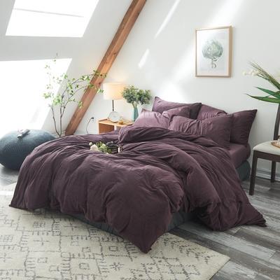 2018天鹅绒单品被套床单枕套床笠四件套任意组合 220*240床笠180*200枕套*2 紫色