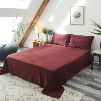 保暖被套天鹅绒单床单水晶绒法莱绒床单单人双人床单1.5m1.8m2.0m 160cmx230cm 酒红