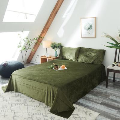 保暖被套天鹅绒单床单水晶绒法莱绒床单单人双人床单1.5m1.8m2.0m 160cmx230cm 墨绿