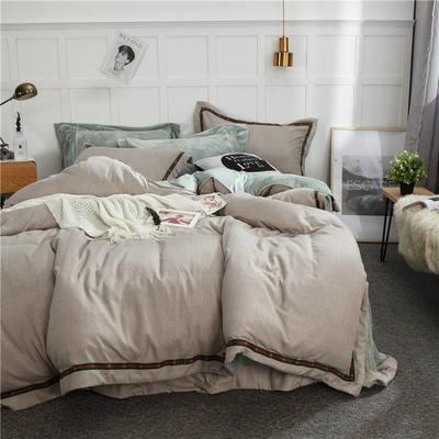 保暖四件套水晶绒AB版四件套法莱绒四件套 1.5m(5英尺)床 心态