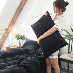 保暖被套天鹅绒单枕套水晶绒法莱绒枕套单人双人枕头套 48cmX74cm一个 纯黑