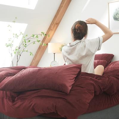 保暖被套天鹅绒单枕套水晶绒法莱绒枕套单人双人枕头套 48cmX74cm一个 酒红