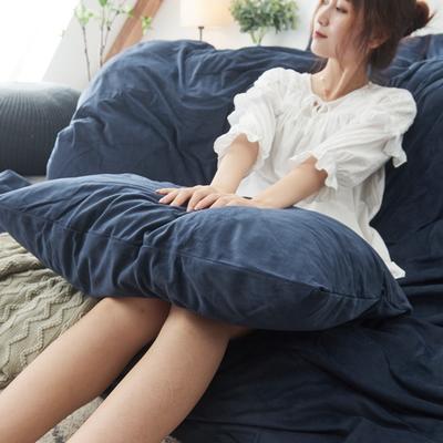 保暖被套天鹅绒单枕套水晶绒法莱绒枕套单人双人枕头套 48cmX74cm一个 绅士蓝