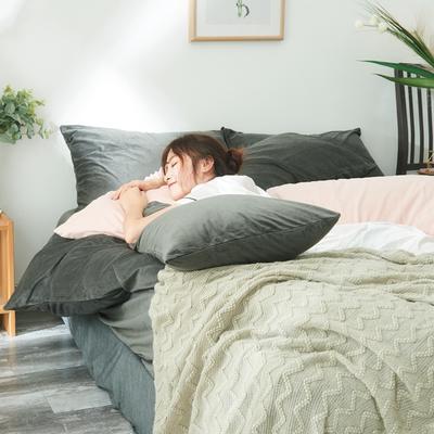 保暖被套天鹅绒单枕套水晶绒法莱绒枕套单人双人枕头套 48cmX74cm一个 炭灰色