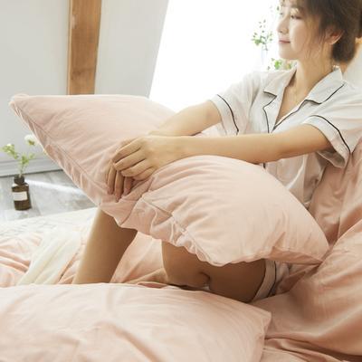 保暖被套天鹅绒单枕套水晶绒法莱绒枕套单人双人枕头套 48cmX74cm一个 玉色