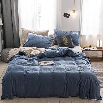 保暖刺绣天鹅绒单床单水晶绒法莱绒床单单人双人床单1.5m1.8m2.0m(刺绣) 单被套150*200 夜寐-深蓝色