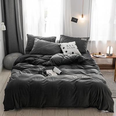 保暖刺绣天鹅绒单床单水晶绒法莱绒床单单人双人床单1.5m1.8m2.0m(刺绣) 2.0m(6.6英尺)床 德霖-灰色