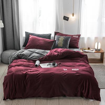 保暖刺绣天鹅绒单床单水晶绒法莱绒床单单人双人床单1.5m1.8m2.0m(刺绣) 单被套150*200 德霖-酒红色