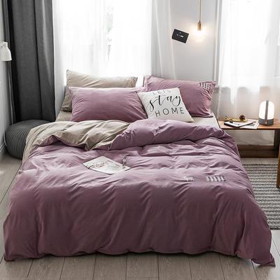 保暖刺绣天鹅绒单床单水晶绒法莱绒床单单人双人床单1.5m1.8m2.0m(刺绣) 2.0m(6.6英尺)床 德霖-浅紫色