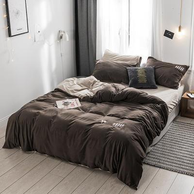 保暖刺绣天鹅绒单床单水晶绒法莱绒床单单人双人床单1.5m1.8m2.0m(刺绣) 2.0m(6.6英尺)床 德霖烟灰色