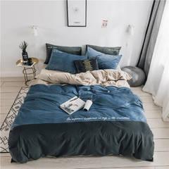 无印良品天鹅绒四件套保暖被套床单枕套床笠套件 150*200床单160*230枕套1 黛拉-湖蓝