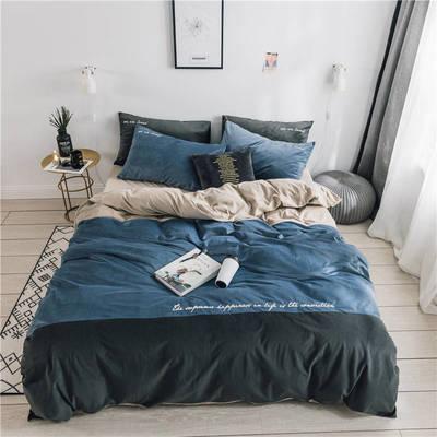 无印良品天鹅绒四件套保暖被套床单枕套床笠套件 220*240床单245*270枕套2 黛拉-湖蓝