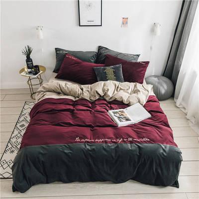 无印良品天鹅绒四件套保暖被套床单枕套床笠套件 被套200*230床单245*270枕套2 黛拉-酒红灰