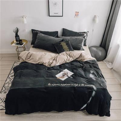 无印良品天鹅绒四件套保暖被套床单枕套床笠套件 220*240床单245*270枕套2 黛拉-米灰