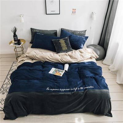 无印良品天鹅绒四件套保暖被套床单枕套床笠套件 220*240床单245*270枕套2 黛拉深蓝