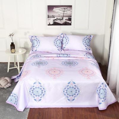 新品冰丝席三件套 枕套床单凉席 席子可折叠机洗水洗套件批发冰丝凉席  冰丝席 时尚冰丝席 1.8m(6英尺)床 ·塞纳风情紫