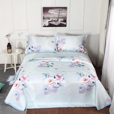 新品冰丝席三件套 枕套床单凉席 席子可折叠机洗水洗套件批发冰丝凉席  冰丝席 时尚冰丝席 2.0m(6.6英尺)床 宛如初见兰