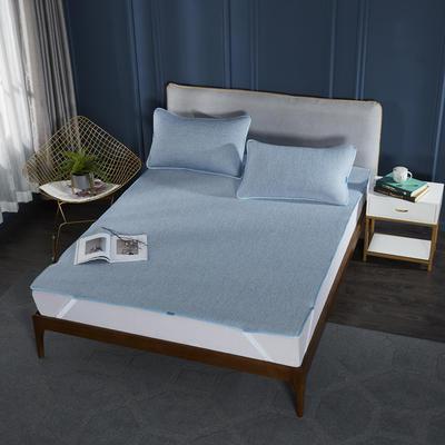 2019云母乳胶凉席三件套可折叠凉席子 1.5m(5英尺)床 浅蓝