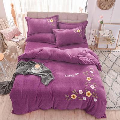 新品毛巾绣牛奶绒水晶绒短毛绒四件套 1.8m(6英尺)床 小熊玫红