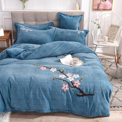 新品毛巾绣牛奶绒水晶绒短毛绒四件套 1.8m(6英尺)床 桃子蓝