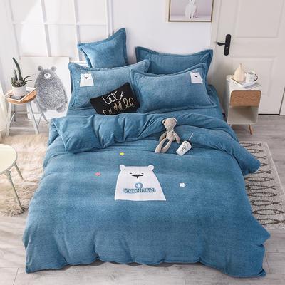 新品毛巾绣牛奶绒水晶绒短毛绒四件套 1.8m(6英尺)床 小熊蓝