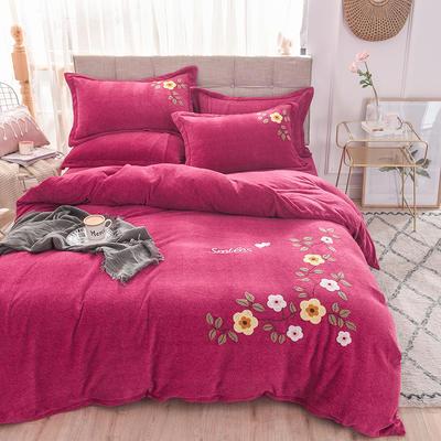 新品毛巾绣牛奶绒水晶绒短毛绒四件套 1.8m(6英尺)床 小花玫红