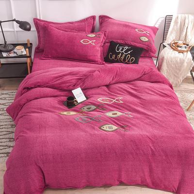 新品毛巾绣牛奶绒水晶绒短毛绒四件套 1.8m(6英尺)床 小鱼玫红