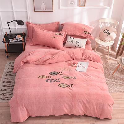 新品毛巾绣牛奶绒水晶绒短毛绒四件套 1.8m(6英尺)床 小鱼玉
