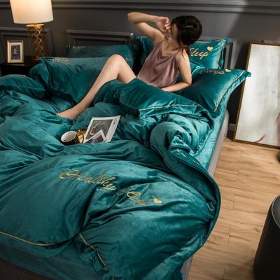 新品水晶绒三四件套 刺绣宝宝绒秋冬保暖套件 婚庆结婚 被套床单四件套 150x200cm 蓝绿